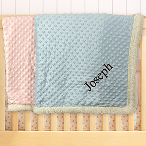 Embroidered Any Name Baby Sherpa Blanket E000332X