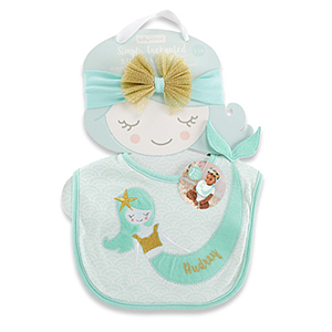 Personalized Mermaid Bib and Headband Set | Personalized Baby Gifts