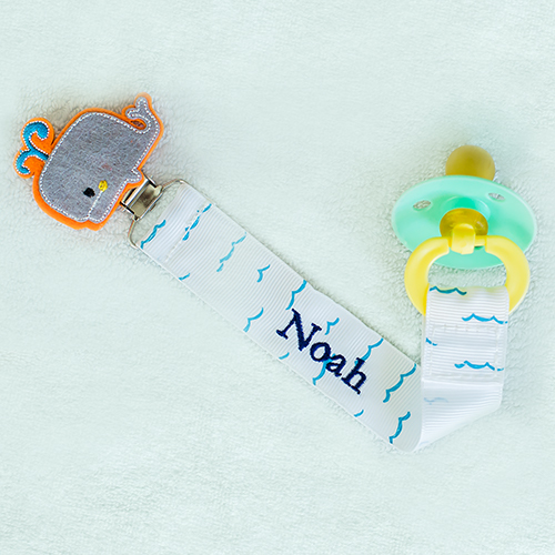 Any Name Whale Personalized Pacifier Clip | Personalized Whale Baby Gifts
