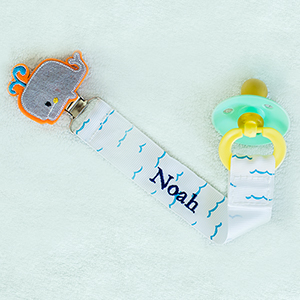 Personalized Any Name Whale Pacifier Clip | Unique Baby Gifts