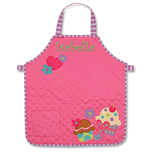 Embroidered Cupcake Quilted Youth Apron | Personalized Kids Apron