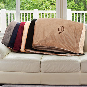 Any Initial Embroidered Sherpa Blanket