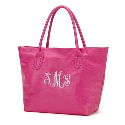 Monogrammed Leatherette Tote | Personalized Tote