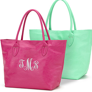 Monogrammed Leatherette Tote Bag