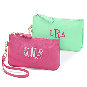 Monogrammed Leatherette Wristlet | Personal Gifts For Mom