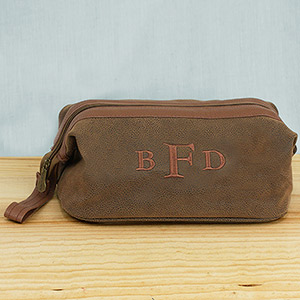 Embroidered Monogram Faux Suede Travel Kit