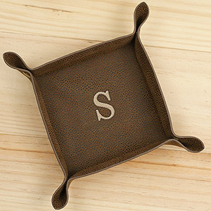 Embroidered Single Initial Leatherette Valet Tray