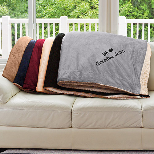 We Love Embroidered Sherpa | Personalized Blankets