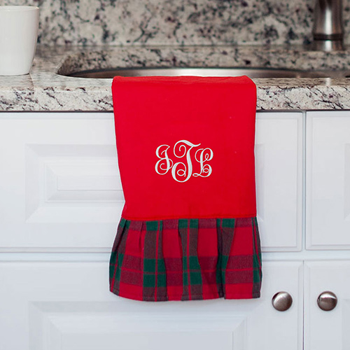 Embroidered Red Plaid Hand Towel E10841295