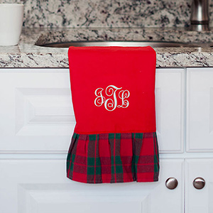 Embroidered Red Plaid Hand Towel | Monogrammed Christmas Towel