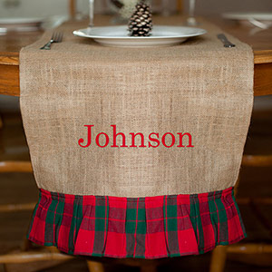 Embroidered Burlap Holiday Table Runner E10842296