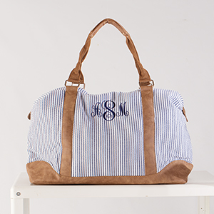 Embroidered Navy Seersucker Weekender | Personalized Totes