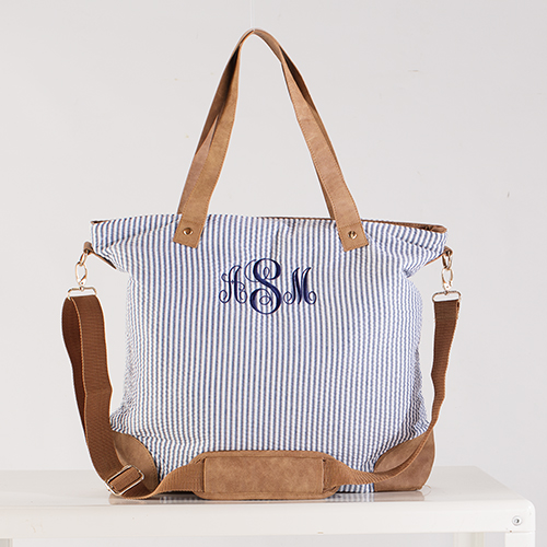 Embroidered Navy Seersucker Shoulder Bag | Monogrammed Totebags