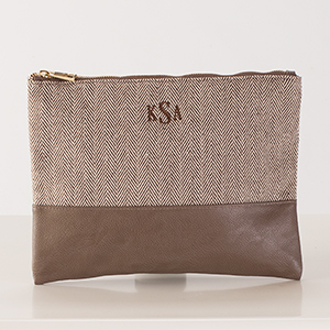 Embroidered Herringbone Zip Pouch E10849300