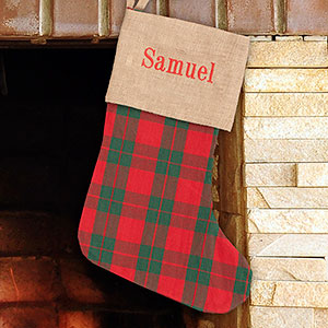 Embroidered Holiday Plaid Stocking E10902312