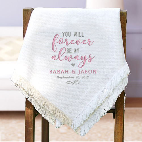 Embroidered Forever and Always White Throw | Romantic Home