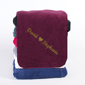 Embroidered  Names with Heart Micro Plush Throw E11019317X