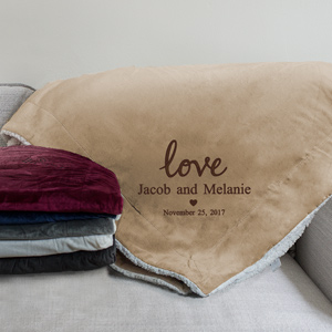 Embroidered Love Sherpa | Personalized Wedding Gift