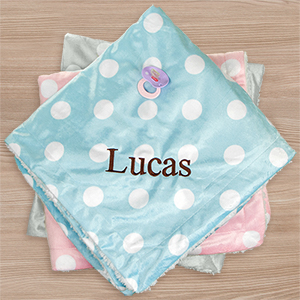 Embroidered Polka Dot Baby Blanket | Personalized Baby Gifts