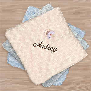 Embroidered Curly Plush Baby Blanket | Personalized Baby Blankets