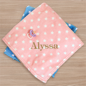 Embroidered Star Plush Baby Blanket | Personalized Baby Blankets
