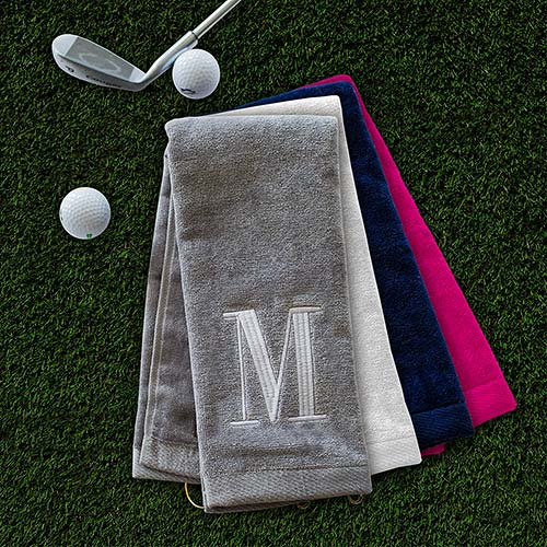 Embroidered Initial Golf Towel | Personalized Golf Towel