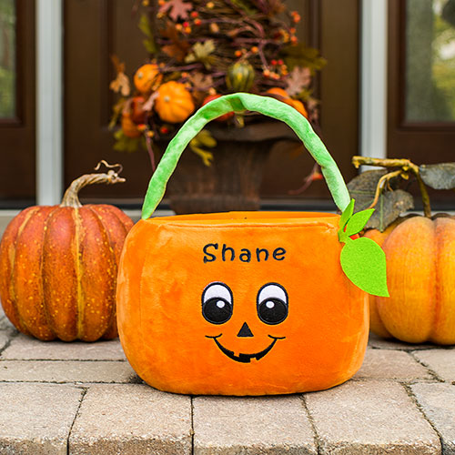 Embroidered Pumpkin Trick or Treat Basket | Personalized Trick Or Treat Bags