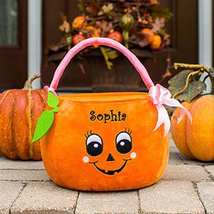 Embroidered Girl Pumpkin Trick or Treat Basket | Personalized Trick Or Treat Bags
