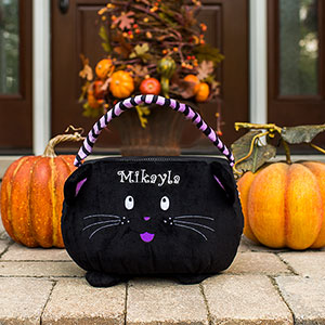 Embroidered Cat Trick or Treat Basket | Personalized Trick Or Treat Bag