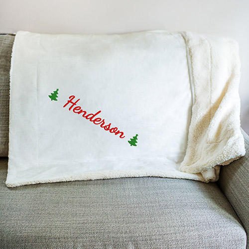 Embroidered Holly Sherpa Blanket | Personalized Blankets