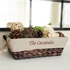 Embroidered Decorative Family Wicker Basket | Personalized Baskets