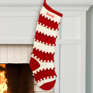 Embroidered Red Striped Stocking | Personalized Christmas Stockings