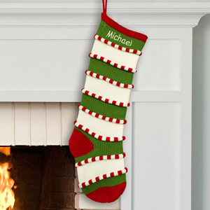 Embroidered Green Striped Stocking | Personalized Christmas Stockings