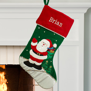 Embroidered Santa Green Stocking | Christmas Stockings Personalized