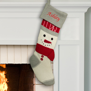 Embroidered Knit Snowman Stocking | Personalized Christmas Stockings