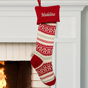 Embroidered Red Snowflake Knit Stocking | Christmas Stockings