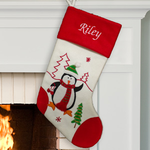 Embroidered Red and White Penguin Stocking | Christmas Stockings