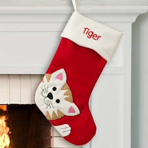 Embroidered Cat Stocking | Personalized Christmas Stockings For Cats