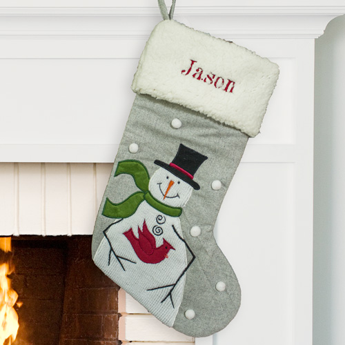 Embroidered Snowman with Cardinal Stocking | Personalized Christmas Stockings