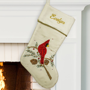 Embroidered Velvet Sequin Cardinal Stocking | Personalized Velvet Christmas Stockings