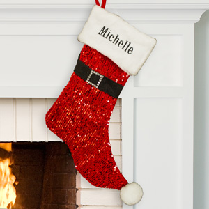 Embroidered Red Sequin Santa Stocking | Personalized Christmas Stockings