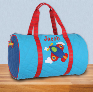Embroidered Airplane Quilted Duffle Bag | Kids Personalized Duffle Bags