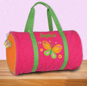 Embroidered Quilted Butterfly Duffle Bag | Kids Personalized Duffle Bags