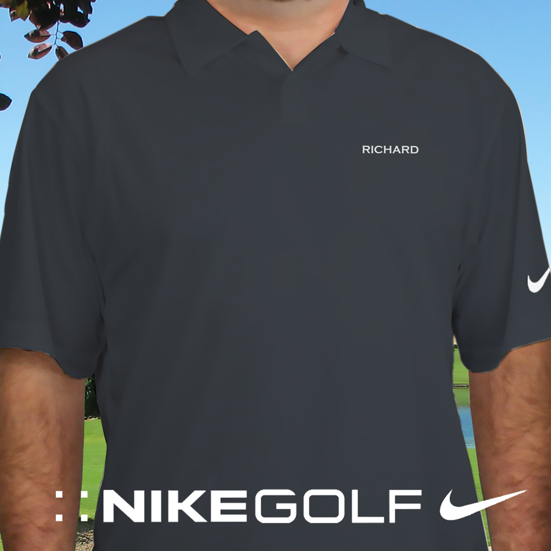 Embroidered Name Nike Dri-FIT Gray Polo Shirt | Personalized Golf Shirts For Dad
