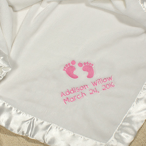 Embroidered Baby Girl Fleece Blanket
