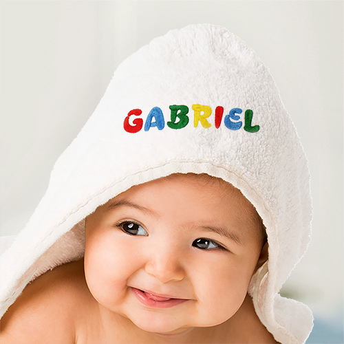 Primary Name Embroidered Hooded Baby Towel | Personalized Baby Gifts