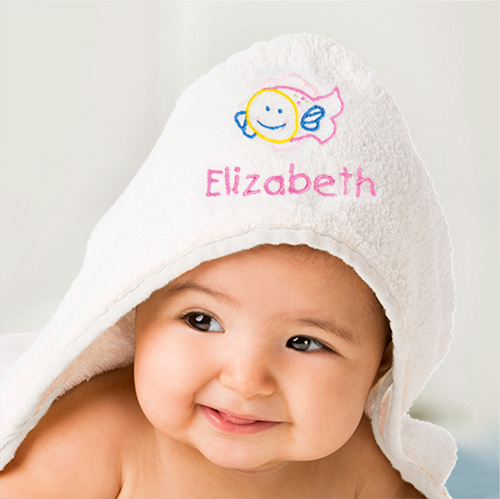 Embroidered Fish Hooded Baby Towel | Personalized Baby Gifts