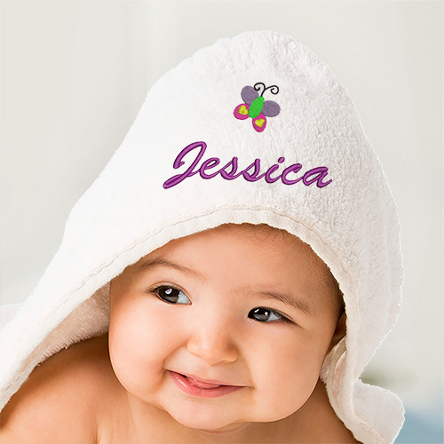 Embroidered Icon Hooded Baby Towel | Personalized Baby Gifts