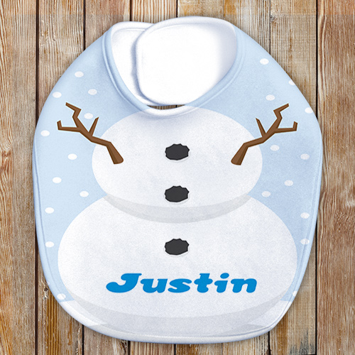 Personalized Snowman Baby Bib | Winter Personalized Baby Bib