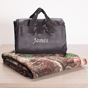 Embroidered Camo Blanket Tote | Personalized Blanket Tote